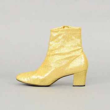 60's Metallic GOLD Glitter Booties
