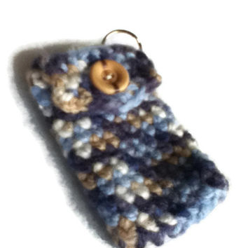 Blue and Tan Keychain Pouch - Denim Patchwork Look  - Item 1025