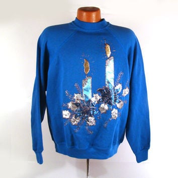 Ugly Christmas Sweater Vintage Sweatshirt Ho Made Puffy Paint Toy Shop Candle Hanukkah Holiday