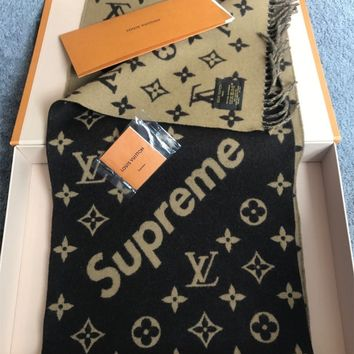 100% AUTHENTIC!//Louis Vuitton X Supreme //cashmere brown scarf with receipt!