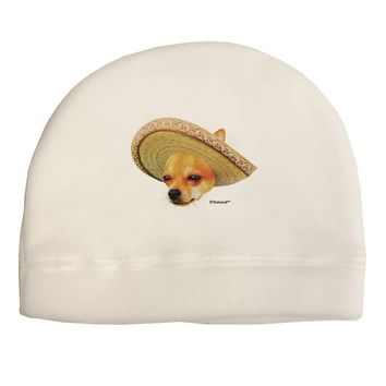 Chihuahua Dog with Sombrero - Patchwork Design Child Fleece Beanie Cap Hat by TooLoud