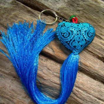 Embroidered Blue Heart Long Tassel Bell Keyring Bag Charm Tribe Hippie Ibiza | eBay