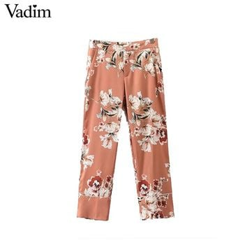 Women vintage floral print wide leg pants loose ladies summer casual ankle length trousers