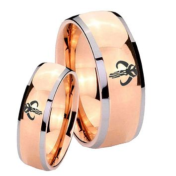 His Hers Rose Gold Dome Star Wars Mandalorian Boba Fett Two Tone Tungsten Wedding Rings Set