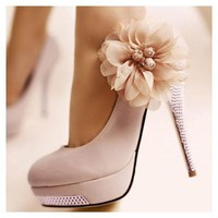 Pink Flower Metallic Heel Pumps