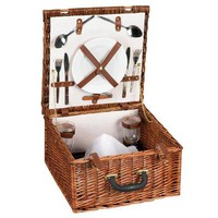 Willow Picnic Basket Lined Service for Two