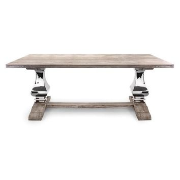 Metal Base with Wood Top Dining Table