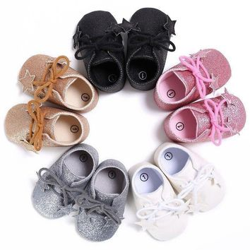Kids Baby Boy Girl Bling Soft Sole Sneaker Shoes Leather Toddler Shoes Prewalker