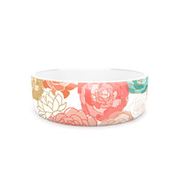 "Pellerina Design ""Spring Florals"" Blush Peony Pet Bowl"