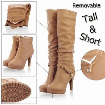 Fashion Online New2015 Winter Knee High Boots Women Motorcycle Boots Two Way Wear High Heels Soft Leather Shoes Winter Boots - 1946595652