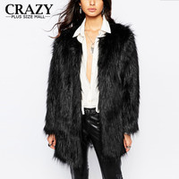 New 2016 Women Plus Size Women Clothing S - 6XL Fashion Middle Long Fake Fox Fur Coats Black Blue Red Yellow Pink Faux Fur Coats