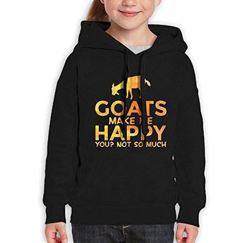 Goats Make Me Happy You Not So Much Girls Hipster Hooded Sweatshirts Cotton Pullover Hoodies