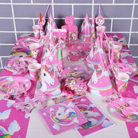 Unicorn Party Supplies Girl Borthday Party Accessories Favors Party Decorations Children Gifts Unicornio Acesorios Aniversario