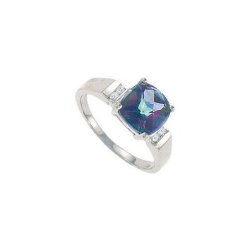 Mystic Topaz and Diamond Ring : 14K White Gold - 3.33 CT TGW