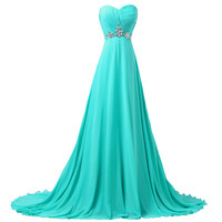 Turquoise Long Bridesmaid Dresses 2016 Grace Karin A-line Sweetheart Women Beaded Formal Wedding Party Gowns 6290