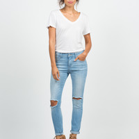Crop Knee Cut Out Skinny Jeans