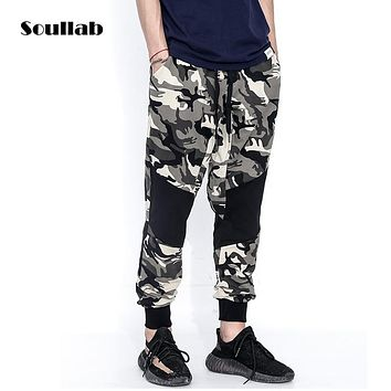 soullab new autumn winter collection men male boy bottom camo patchwork jogger pants trousers hip hop rap rapper sweat sweatpant