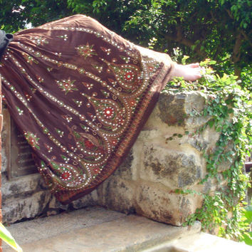 Brown Maxi Skirt: Long Gypsy Skirt Indian Boho Bohemian Flowy Crinkle Sequin Peasant Skirt Gypsy Costume