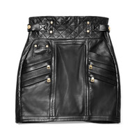 M'O Exclusive: Quilted Leather Mini Skirt by Balmain - Moda Operandi