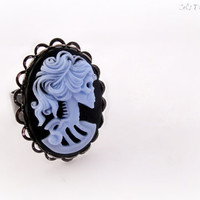 Zombie skeleton lady cameo ring, pastel goth spooky gothic jewelry