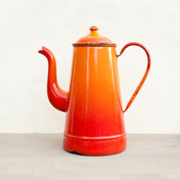Red Orange ombre antique Enamelware Coffee Pot - Vintage Home Decor - French Country style