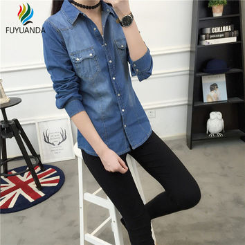Women Undershirt Denim Shirts And Blouses Long Sleeve Cotton Office Ladies Tunic Jeans Shirt Camisa Blusa Camisetas Femininas