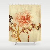 peach and golden floral Shower Curtain by clemm