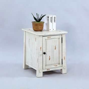 Willow Rustic Chairside Cabinet Distressed White