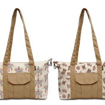 Watercolor Aztec Patterns Printed Picnic Canvas Shoulder Bags WAS_18