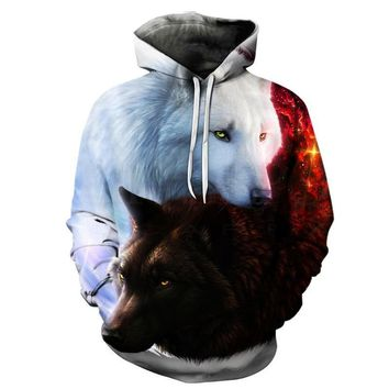 White And Black Wolf Yin And Yang Symbol Wolves Hoodie Sweater