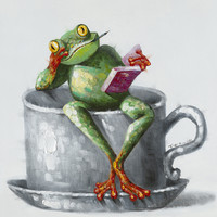 Frog Alert Wall Décor Oil Painting Canvas