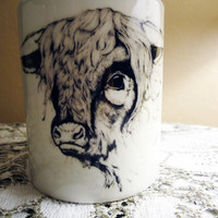 $10.30 Hairy Cow Porcelain Mug by Nightowlhandmade on Etsy