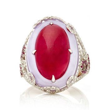 Oval Ruby Cabochon and Lavender Jade Ring | Moda Operandi