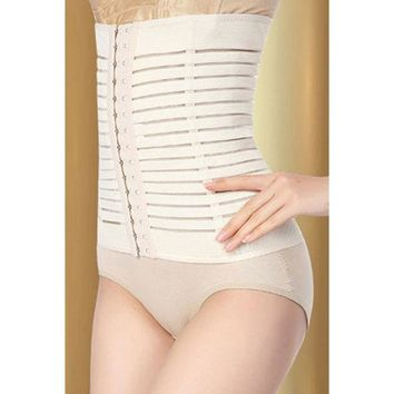 DCCKIX3 Waist Shaper Body Sexy Elastic Stripes Pattern Permeable Slim High Rise Pants Corset [4965383236]