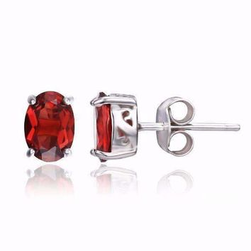Legacy Garnet Oval Cut Genuine 1.6CT IOBI Precious Gems Stud Earrings