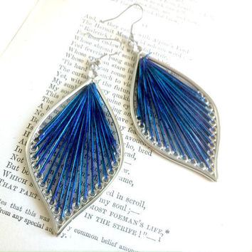 Blue and Purple Leaf Thread Earrings