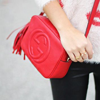 Gucci sells fashion ladies'double G single shoulder fringed bag Red