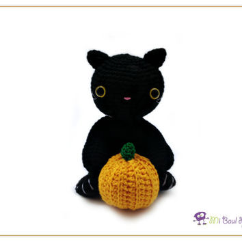 Crochet Halloween Black Cat with Pumpkin - Halloween Decor - Animal Amigurumi Doll - Cat Stuffed Toy - READY TO SHIP
