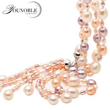Tassel multilayer long mother necklace women,multicolor boho white freshwater natural bridal pearl necklace girls cute jewelry