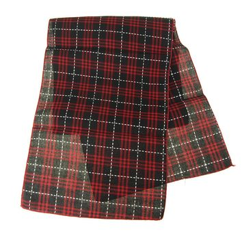 Woven Black and Red Christmas Plaid Table Runner, 14-Inch, 6-Feet