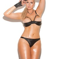 Plus Size Leather halter demi bra with underwire cups Black