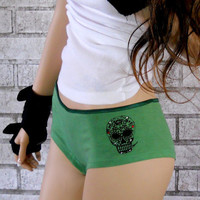 Sugar Skull Boyshort Panties dyed green or by CausticThreads