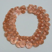 Copper Egyptian Coil Link Bracelet, Wire Wrapped by Hand