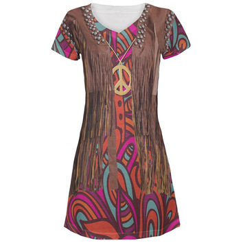 Hippy Costume All Over Juniors V-Neck Dress