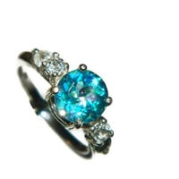 Topaz Ring, Mystic Topaz, Side Stones, White Topaz, 2 Carat Ring, Wedding Ring