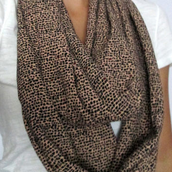 Fall! Jersey, Knit, Tan with Black and Red Speckled, Handmade, Infinity Scarf