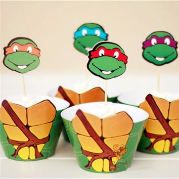 Handmade 12pcs Cupcake Wrappers+12pcs Topper Teenage Mutant Ninja Turtles Kids Birthday Party Decor Favor Cake Toppers Supplies