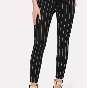 Black and White Vertical Striped Skinny Pants