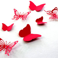 Red Butterfly wall art, Paper butterflies, 3d Wall Arts, Baby shower, Wedding, 3D Butterflies, Wall decal, Art, Home decor