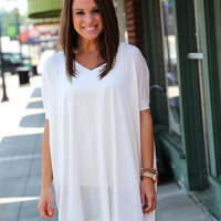 Off White V-Neck Piko {TUNIC}